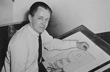 Charles M. Schulz in 1956, drawing Charlie
