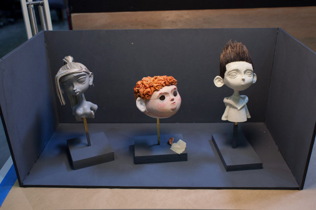Interim sculpted faces of Courtney, Neil and Norman await final touches. All images courtesy of LAIKA, Inc.
