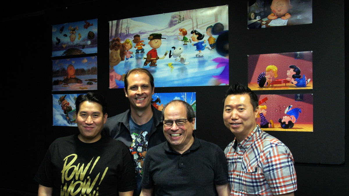The Peanuts Movie's core animations team. Seated at computer: Jeff Gabor, Lead Animator, Snoopy. Far left: Scott Carroll, Supervising Animation, and Nick Bruno, Supervising Animator.