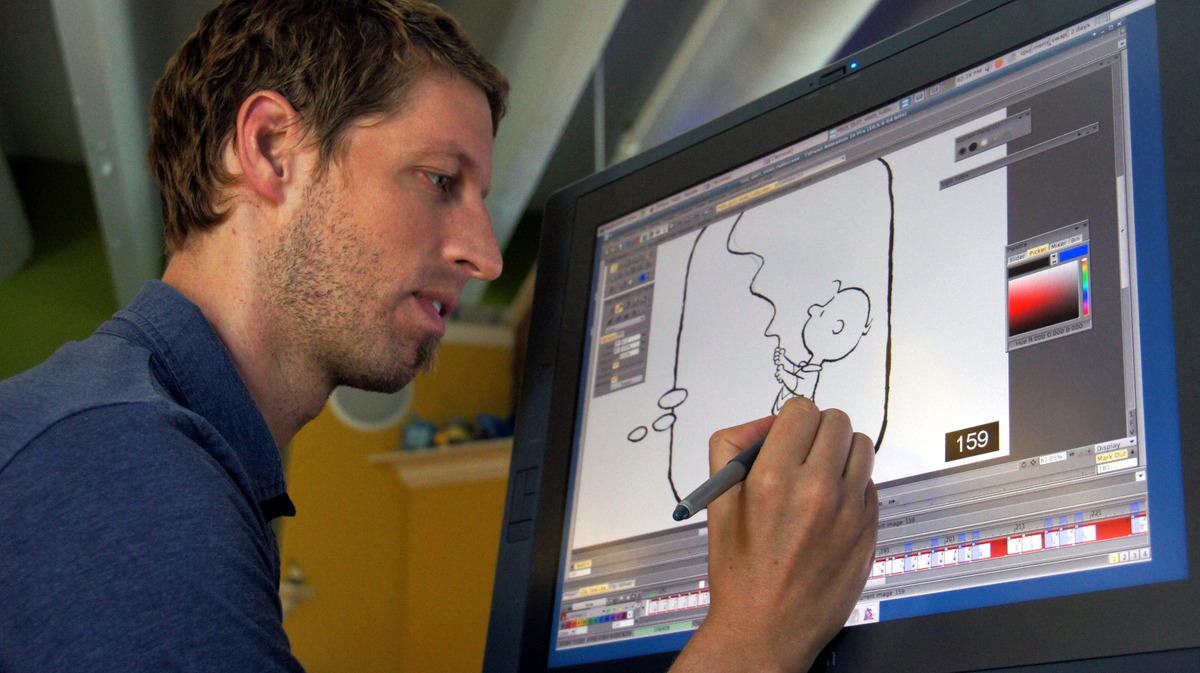 BJ Crawford, Blue Sky Studios Animation Development Lead, works on one of his line animations. MASHABLE/LANCE ULANOFF
