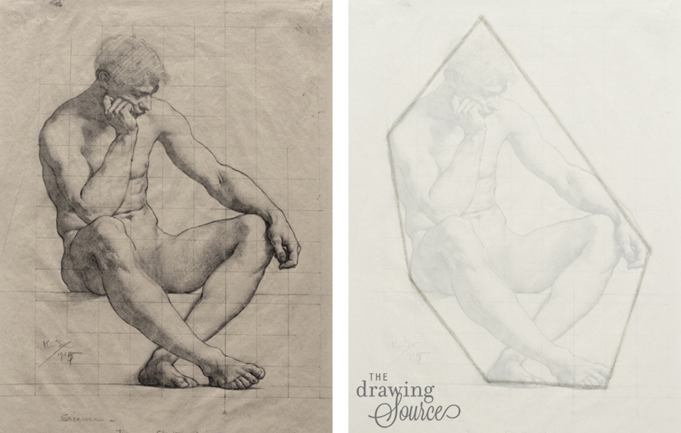 Completed drawing on the left by Kenyon Cox
