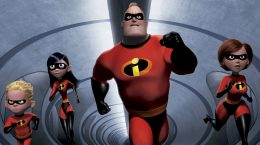 "FILE - In this undated animated still frame released by Pixar, The Incredibles family:  speedy 10-year old Dash, left, shy teenager Violet, second from left, the strong and heroic Mr. Incredible, center, and ultra-flexible Elastigirl appear in this scene from ""The Incredibles.""  (AP Photo/Disney, File)"