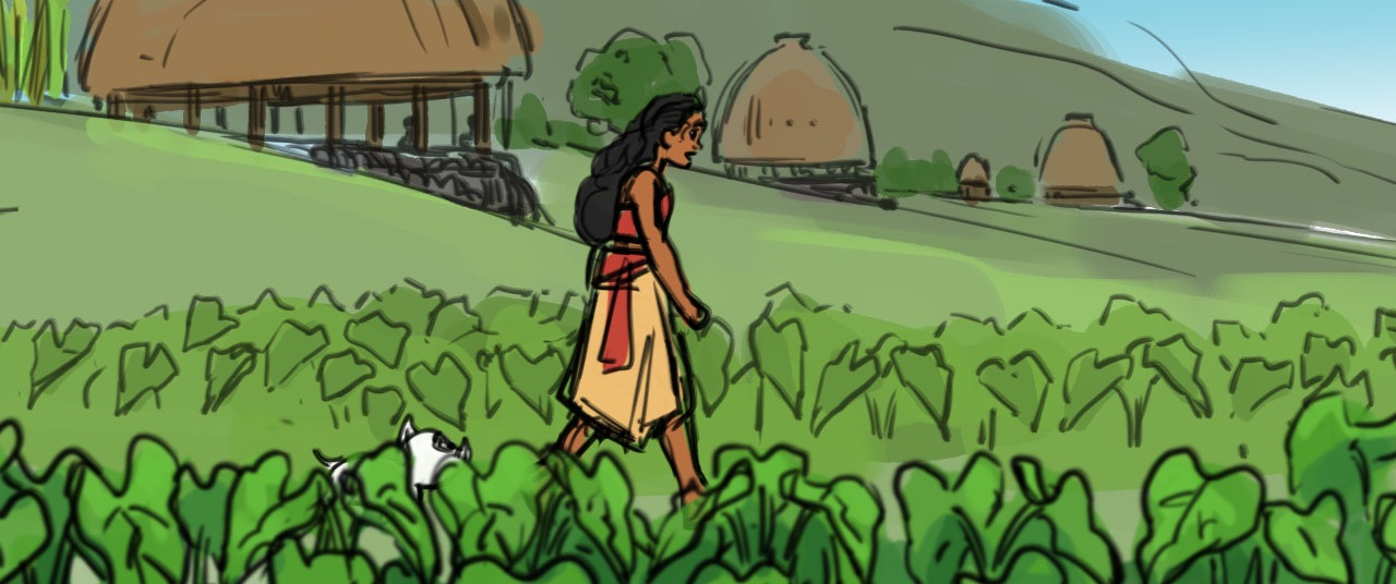 MOANA story boards inspired by research trip to Samoa. Artist: David Derrick, Story Artist.